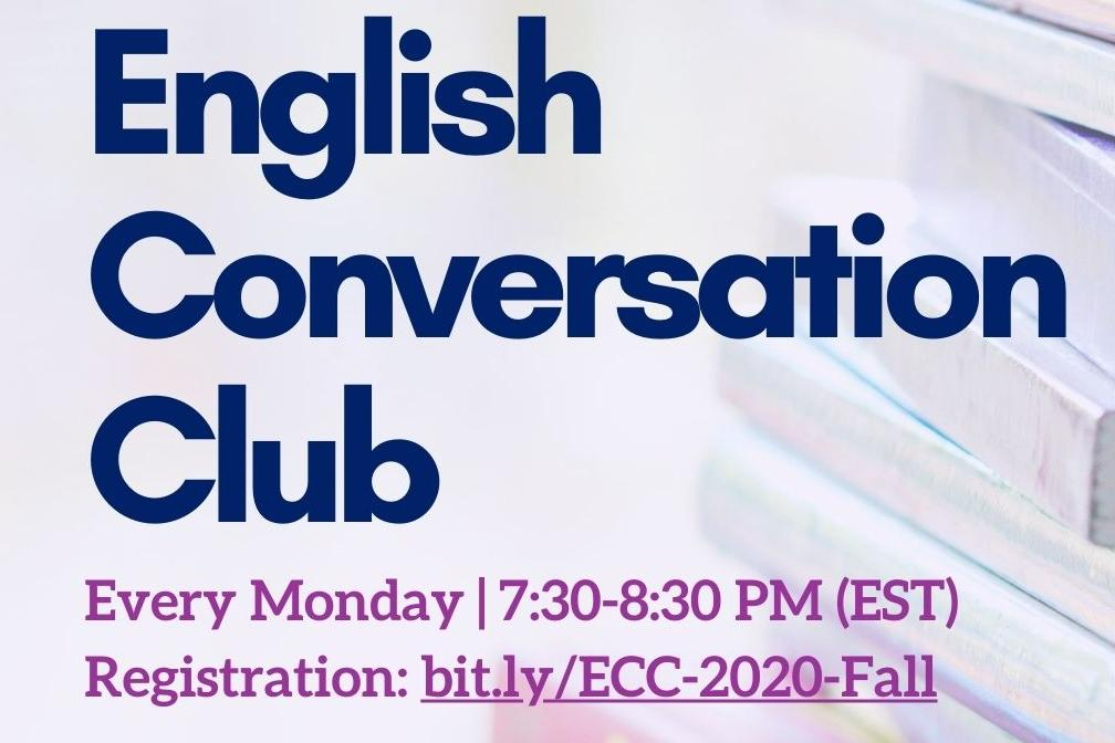 English Conversation Club, Every Monday from 7:30 to 8:30 PM