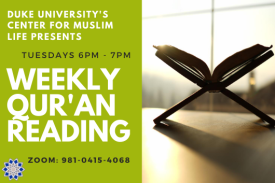 image of Qur'an in a book stand with sunlight coming through a window, with text that reads Qur'an Reading Monday 6-7pm