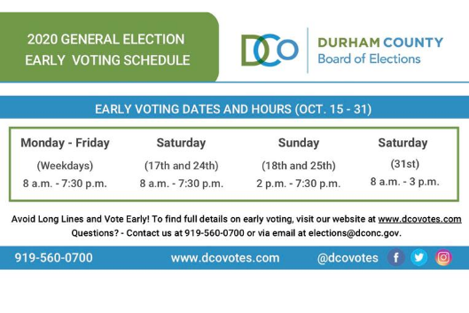 Durham County Board of Elections Early Voting flyer