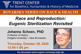 Race amd Reproduction: Eugenic Sterilization Revisited - Thursday, October 29, 2020, 12:00-1:00 pm