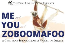 "Sifaka and globe illustration with text reading ""Me and You and Zoboomafoo: A Center of Inspiration. A World of Impact."""