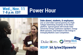 Power Hour is for Duke students, alumni, faculty, and staff.