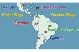 South American map with languages