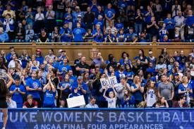 Fans at Women's Basketball game in Cameron Indoor Stadium