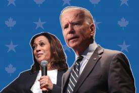 Kamala Harris and Joe Biden in front of a blue starred background