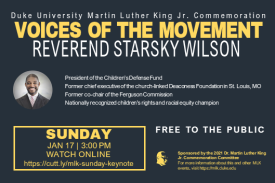 Alt Text: VOICES OF THE MOVEMENT | Reverend Starsky Wilson | Sunday, Jan 17, 3 PM | Online