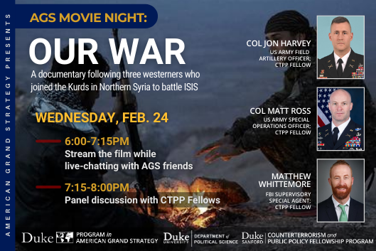 AGS Movie Night & CTPP Panel Discussion on Feb. 24 from 6-8pm. Register here: https://duke.zoom.us/meeting/register/tJEode2gqz4tH9xvyg6adICt3XQ8pNSsKexg