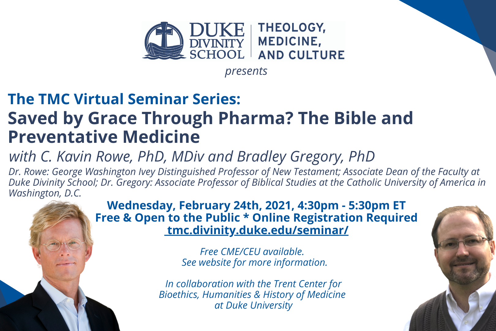 Flier of TMC Seminar with Dr. Rowe and Dr. Gregory