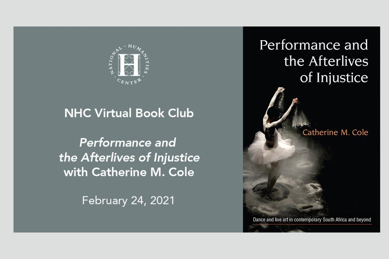 NHC virtual book club flyer with bookcover image