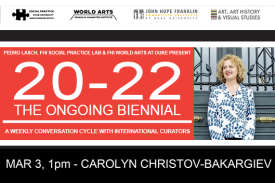 Carolyn Christov-Bakargiev at 20-22 The Ongoing Biennial Event Poster