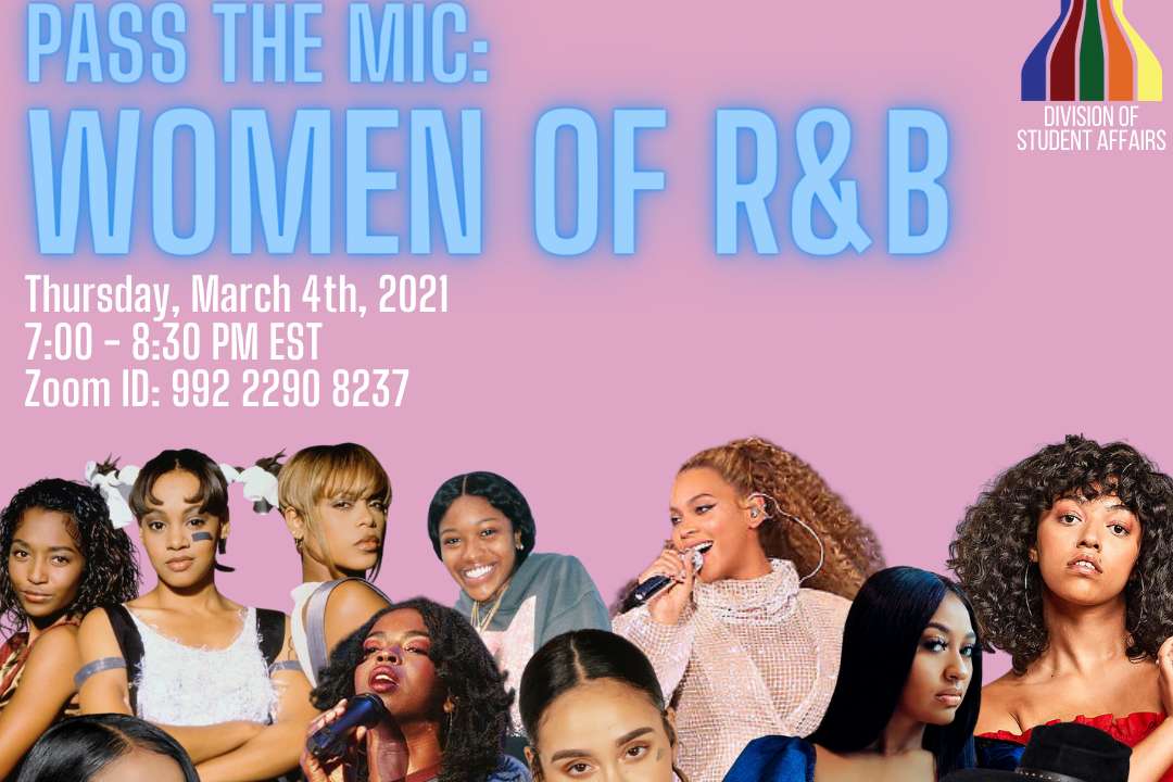 "Pink background with Neon Blue letters ""Pass the Mic: Women of R&B"" with collage of singers"