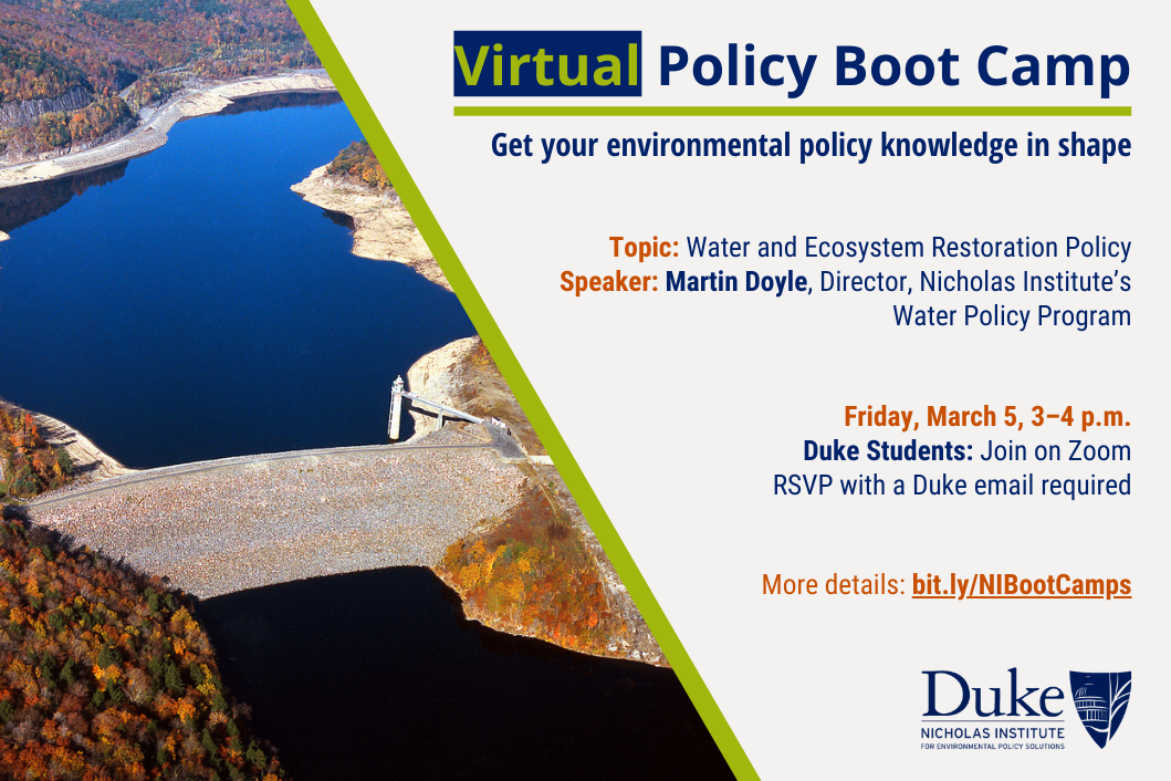 Policy Boot Camp: Water and Ecosystem Restoration Policy; Friday, March 5, 3-4 p.m.