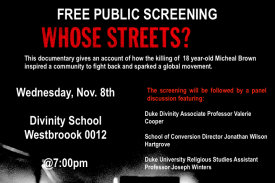 "Flyer detail for ""Whose Streets?"" Screening"