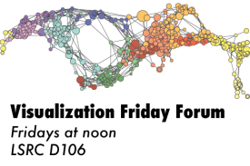 image of a colorful network visualization, with the following text: Visualization Friday Forum; Fridays at noon; LSRC D106