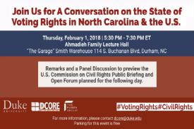 A Conversation on the State of Voting Rights in N.C. and the U.S. flier