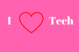 I heart tech pink background with words and heart.