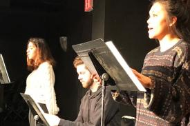 Duke students Alex Felix, Wesley Caretto, Sabrina Maciariello in staged reading