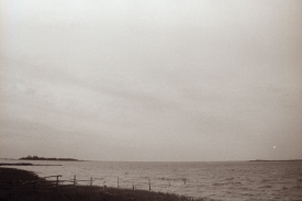 "A black and white still from Taalman's film, ""Kolmas Punkt (The Third Point)."" Greenery is met by a body of Estonian water. More green lingers on the horizon."