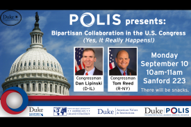 Event poster for Dan Lipinski and Tom Reed talk