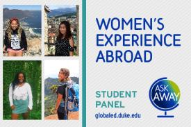 Womens Experience Abroad: Student Panel and Q+A Flyer