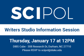 SciPol Writers Studio Information Session Thursday January 17 at 12pm