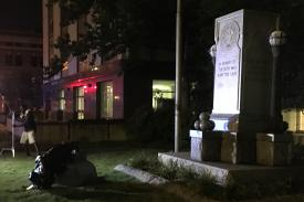 Toppled Confederate monument in Durham