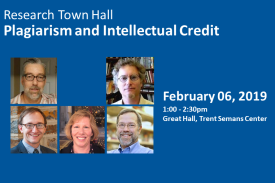 Research Town Hall: Plagiarism and Intellectual Property February 06, 2019 1:00-2:30PM Great Hall, Trent Semans Center