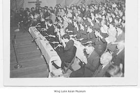 Buddhist ceremony inside Minidoka gymnasium, ca. 1943; from the Wing Luke Asian Museum Photograph Collection, University of Washington Libraries