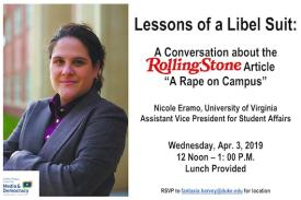 "Lessons of a Libel Suit: A Conversation about the Rolling Stone Article ""A Rape on Campus"""