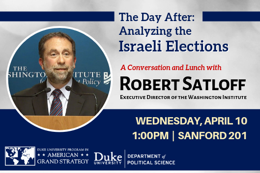 AGS Presents: Analyzing the Israeli Elections with Robert Satloff