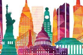 Colorful illustration for USPTO Event with buildings