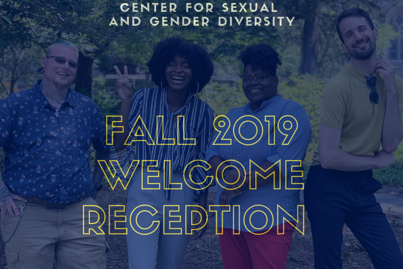 Center for Sexual and Gender DIversity Fall 2019 Welcome Reception. Image of 4 staff members at CSGD.
