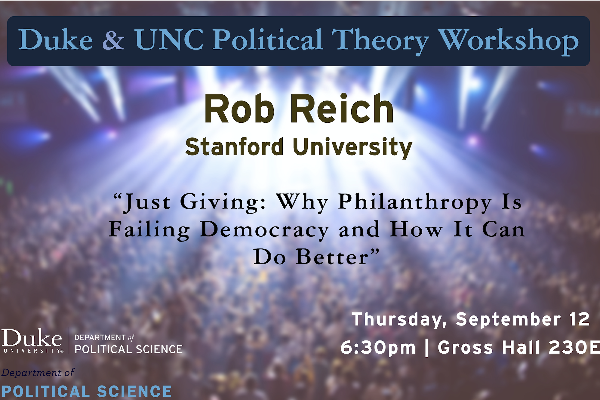 Flyer for Rob Reich event