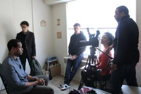 "On set for the film for ""In a Perfect World."""