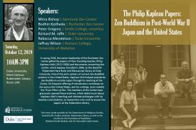 Image of Philip Kapleau and his students on the front steps of a building. Poster contains writen information about when the event takes place: Saturda, Octover 12, 2019 from 10-3PM on West Campus, Duke University in room 249 of Rubenstein Library