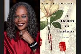 photo of Prof. Holloway and book cover, A Death in Harlem