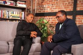 "Mark Anthony Neal (right) interviews artist Hank Willis Thomas on an episode of ""Left of Black."" Photo by J Caldwell."