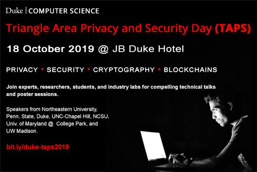 Triangle Area Privacy and Security Day (TAPS) - 18 Oct 2019