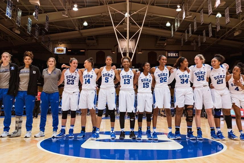 @Duke_WBB team in Cameron Indoor Stadium
