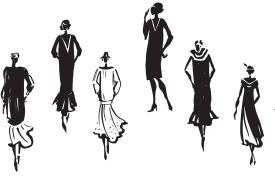 Illustration of six female figures in 1930s clothes
