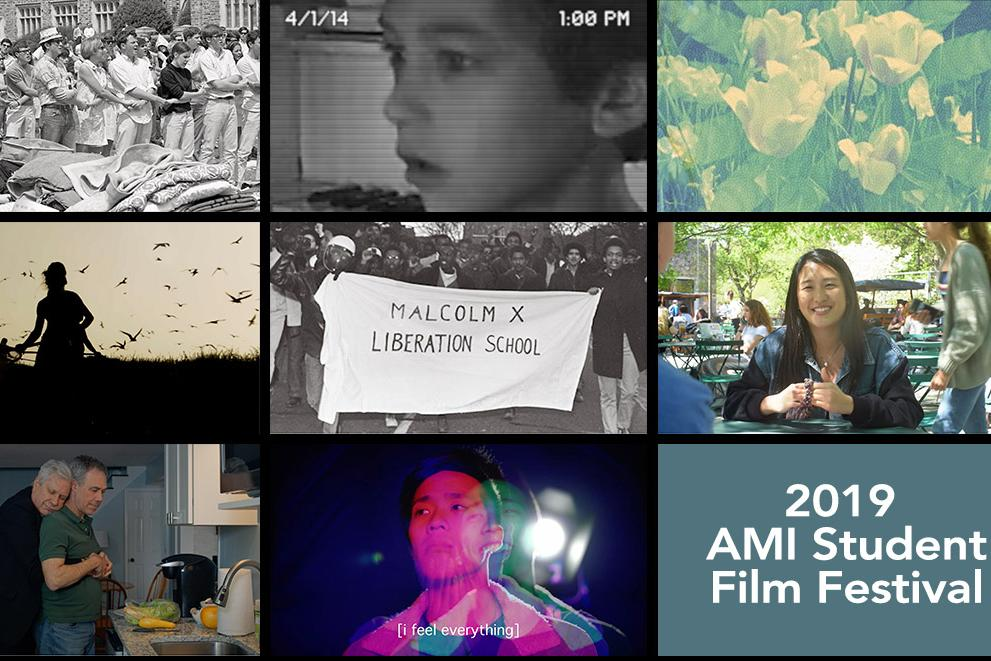 Collage of still images from works shown in the 2019 AMI Student Film Festival