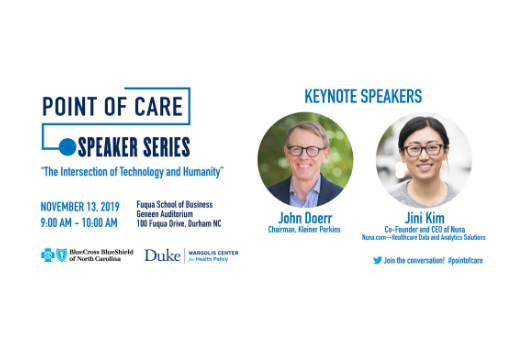 Point of Care Speaker Series flyer including images of speakers