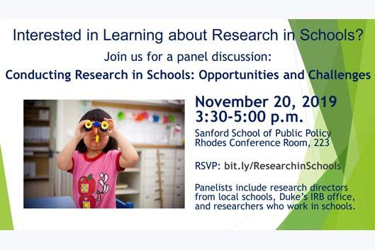 Conducting Research in Schools, Nov. 20, 3:30-5:00PM