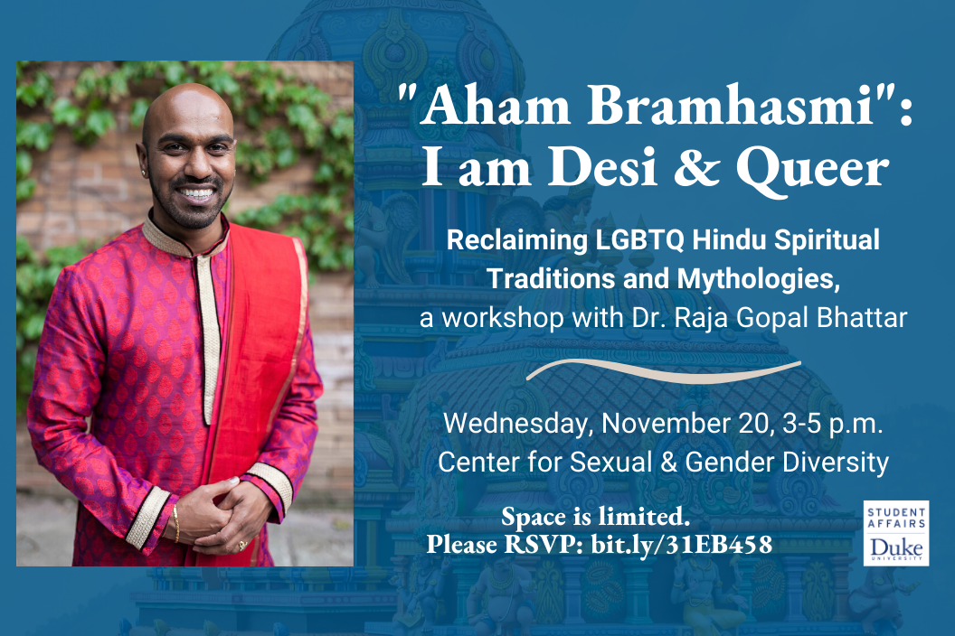 Dr. Raja wearing traditional red and pink hindu garb on a flyer with event information
