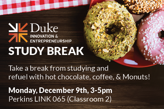 Take a break from studying and refuel with hot chocolate, coffee, and Monuts! Monday December 9th 3-5pm Perkins LINK 065 Classroom 2