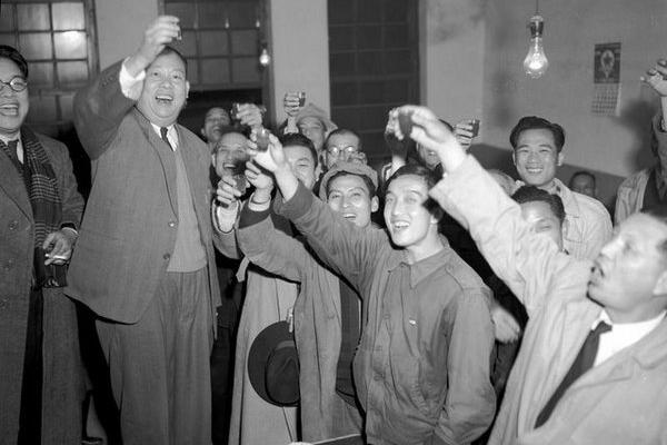 First elected mayor of Taipei, Taiwan, celebrating victory with supporters