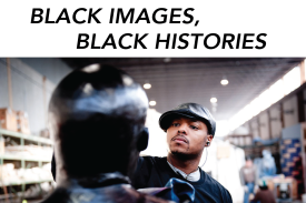 "Titus Kaphar headshot with text ""Black Images Black Histories"""