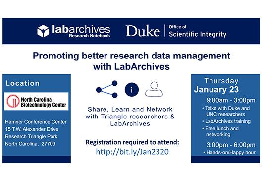 Flyer to announce DOSI and LabArchives are co-hosting a regional LabArchives user conference on Jan 23, 2020