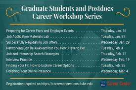 Graduate Students and Postdocs Career workshop Series