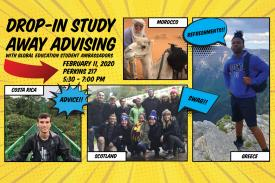 Drop-in Study Away Advising, Feb 11 5:30-7pm Perkins 217